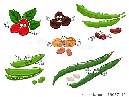 Coffee, peanuts, green pea pods and beans 19087115