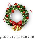 wreath, vector, bow 19087796