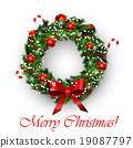wreath, vector, bow 19087797