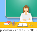 School teacher woman at the desk flat illustration 19097013