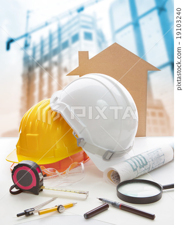 Stock Photo: construction equipment on working table