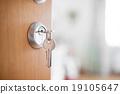 Open door with keys, key in keyhole 19105647