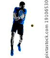 man silhouette playing tennis player 19106530