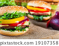 homemade hamburger with fresh vegetables, close up 19107358