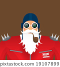 vector biker santa claus with smoking pipe. 19107899