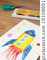 火箭 兒童的照片 蠟筆 19108601