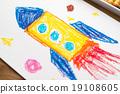 火箭 蠟筆劃 手繪 19108605