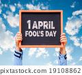 1 April Fools' Day written on a chalkboard. 19108862