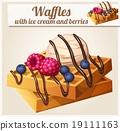 Waffles with ice cream and berries. Detailed 19111163