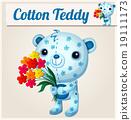 Blue cotton teddy bear. Cartoon vector 19111173