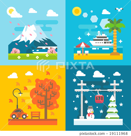 Stock Illustration: Flat design travel seasons set