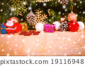 Merry Christmas on snow and wooden background 19116948