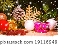 Merry Christmas on snow and wooden background 19116949