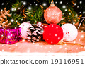 Merry Christmas on snow and wooden background 19116951