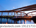Boat on river with Bhumibol Bridge background in twilight time. 19121733
