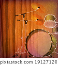 abstract grunge piano background with drum kit 19127120
