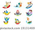 썰매 놀이 아이 세트 흰색 배경 19131469