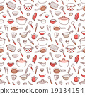 Kitchenware and cooking utensils doodle pattern 19134154