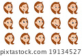 Cartoon girl expressions collection 19134527