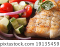 grilled fish and fresh vegetable salad macro 19135459