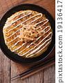 Japanese okonomiyaki on a table close-up. top view 19136417