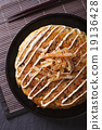 Japanese okonomiyaki pizza close-up top view 19136428