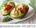 avocado, shrimp, plate 19136732