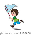 Cute little boy cartoon running to catch insect 19136808
