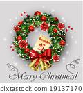 wreath, vector, bow 19137170