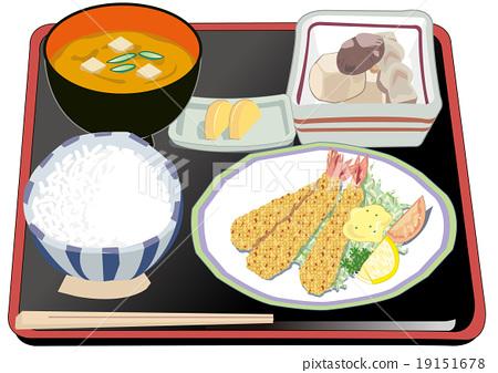 炸虾 午饭 油炸的 19151678