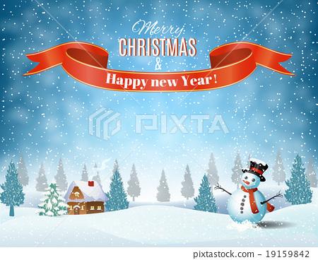 Stock Illustration: Christmas winter landscape