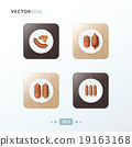 sausages, Hot dog Icons design food on wood 19163168