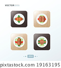 Hot dog And Salad Icons design food on wood 19163195