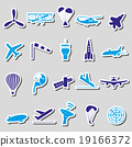 aviation big set of simple blue stickers eps10 19166372
