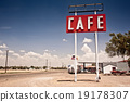 Cafe sign along historic Route 66 in Texas. 19178307