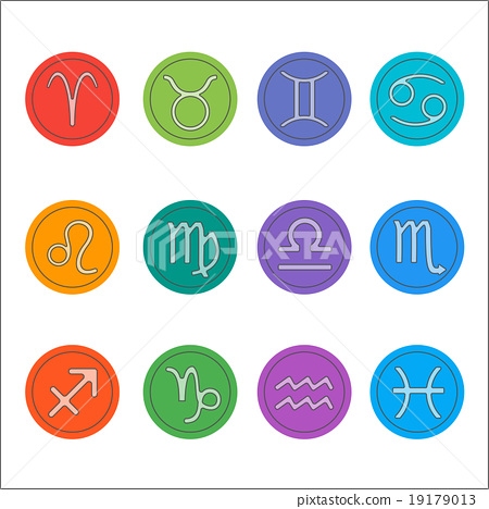 Flat thin set of simple zodiac icons  19179013
