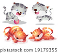 Cute cat cartoon actions 19179355