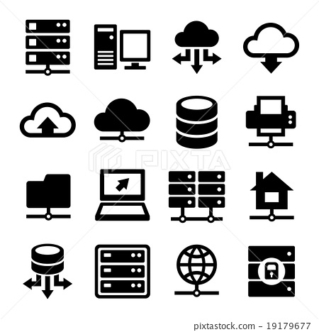 Big Data Center and Server Icons Set. Vector 19179677