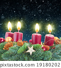 advent wreath with burning candles  19180202