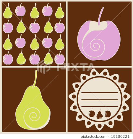 Stock Illustration: Drawn pears and apples, vintage label