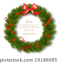 Gift card with Christmas Wreath and Bow.  19186085
