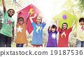 Children Flying Kite Playful Friendship Concept 19187536