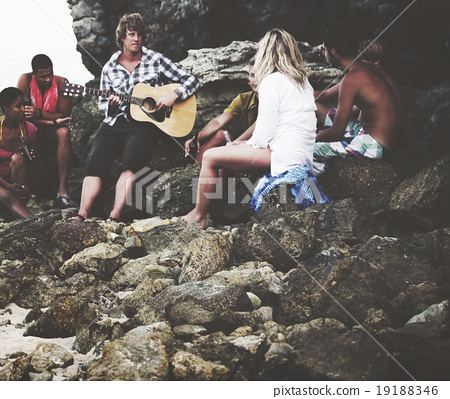 Stock Photo: Young People Friendship Bonding Recreation Beach Concept