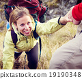 Couple Hiking Helping Climbing Mountain Concept 19190348
