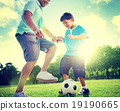 Family Father Son Playing Football Summer Concept 19190665