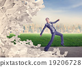 Woman running from papers 19206728