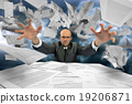 Serious businessman manipulating papers 19206871