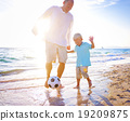Father Son Playing Soccer Beach Summer Concept 19209875