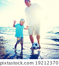 Father Son Playing Soccer Beach Summer Concept 19212370