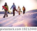 People Snow Boarding Winter Mountain Leisure Sport Concept 19212440